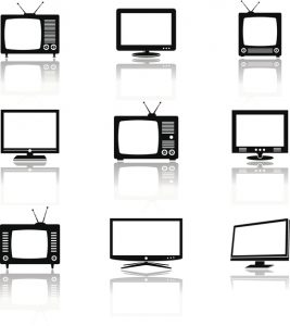 Silhouettes of retro and modern televisions. Vector illustration.